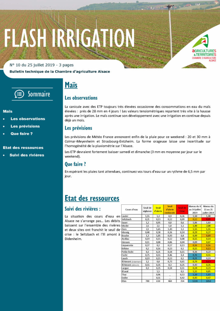 Exemple flash irrigation - Mes services Agricoles - Chambre d'Agriculture Alsace